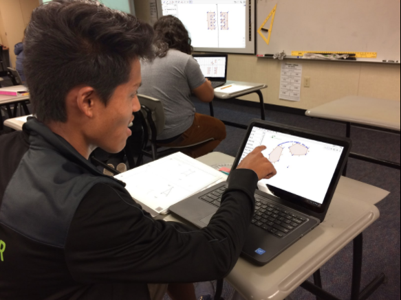 Student using GeoGebra on new Touch Chromebook