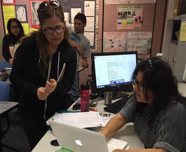 Adult school ASE teacher Sandra Gomez provides direct instruction in English classes for high school credit.