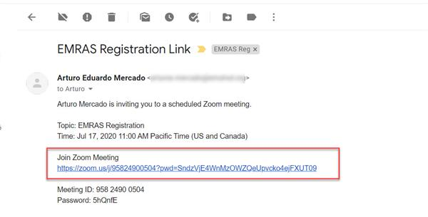 Screenshot of sample email received from EMRAS registrar